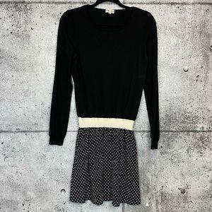 Reiss // Sweater Dress with Polka-Dot Skirt